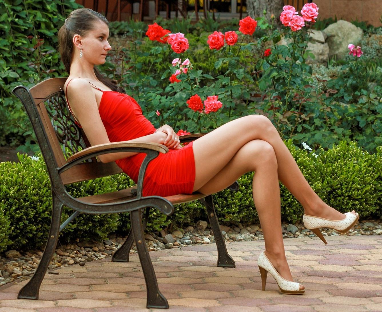 woman on hogtied wearing heels